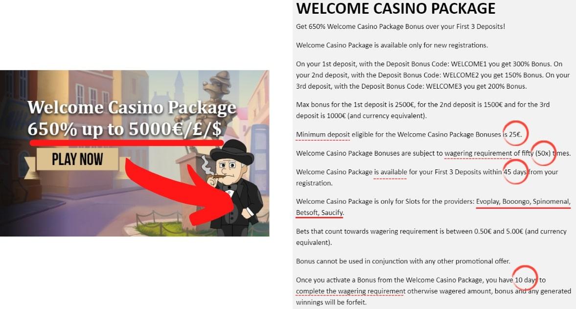 welcome bonus online casino