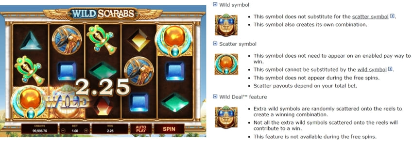 Features at online pokie